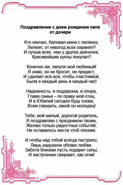 Поздравления для папы на украинском