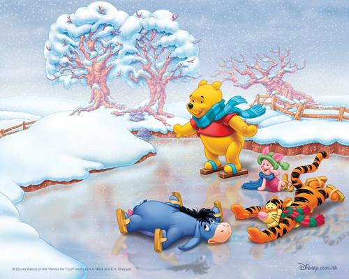 Персонажи Диснея, Винни Пух на льду, обои 1280px × 1024px