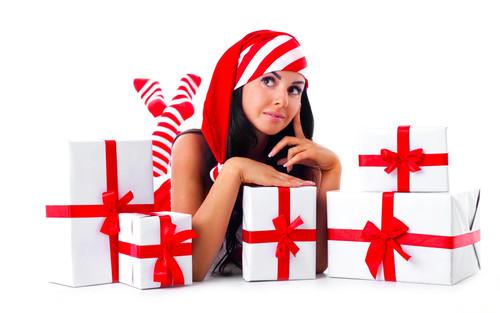 Новый год, праздник, подарок, красивая девушка, обои 1 680px × 1 050px