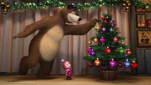 Маша и медведь, новогодние обои 1920px × 1 080px