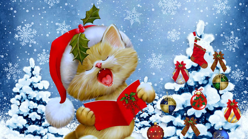 Котёнок, новый год, ёлка, обои 1 920px × 1 080px