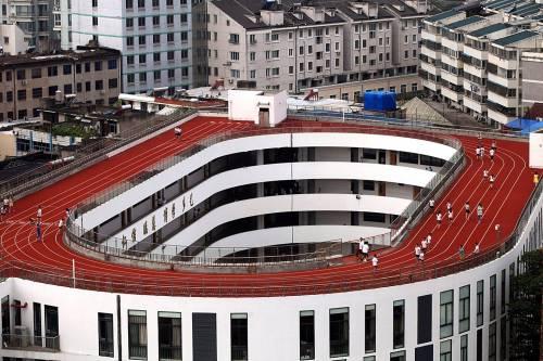 Спортплощадки на крышах китайских школ