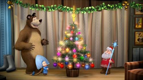 Маша и медведь, Дед мороз, ёлка, новогодние обои 1600px × 900px