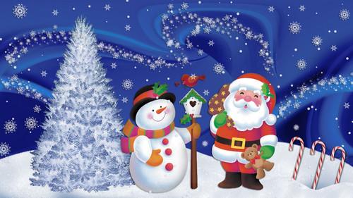 Новый год, снеговик, Дед Мороз, ёлка, обои 1 920px × 1 080px