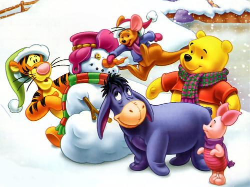 Новый год, Дисней, Винни Пух и все, обои 1024px × 768px