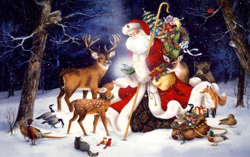 Санта Клаус и животные, обои на рабочий стол 1 680px × 1 050px