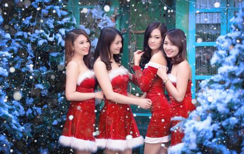 Азиатки, ёлки, новый год, обои 1 280px × 809px