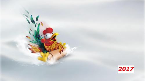 Рисованный прикольный петух на снегу 2 000px × 1 125px