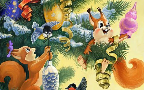 Новый год, ёлка, белки, рисунок, обои 2 000px × 1 250px