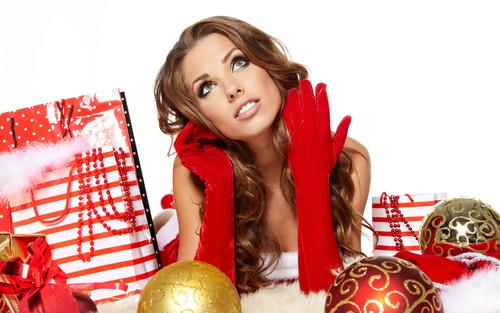Новый год, праздник, подарок, красивая девушка, обои 2 000px × 1 250px