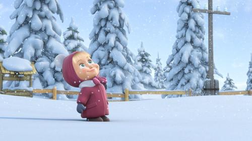 Маша, мультфильм, Новый год, зима, лес, обои 1920px × 1080px