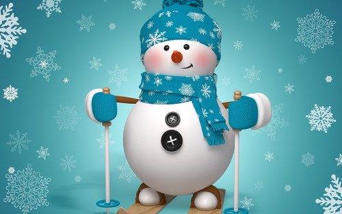 Снеговик на лыжах, новогодние обои 2000px × 1250px