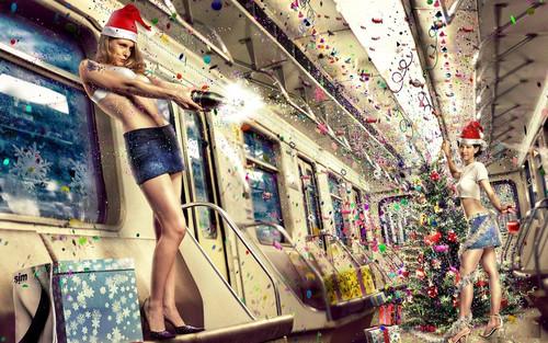 Новогоднее безумство в вагоне метро, обои 1 680px × 1 050px