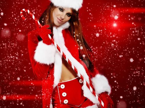 Новогодняя девушка красавица, обои 1 024px × 768px