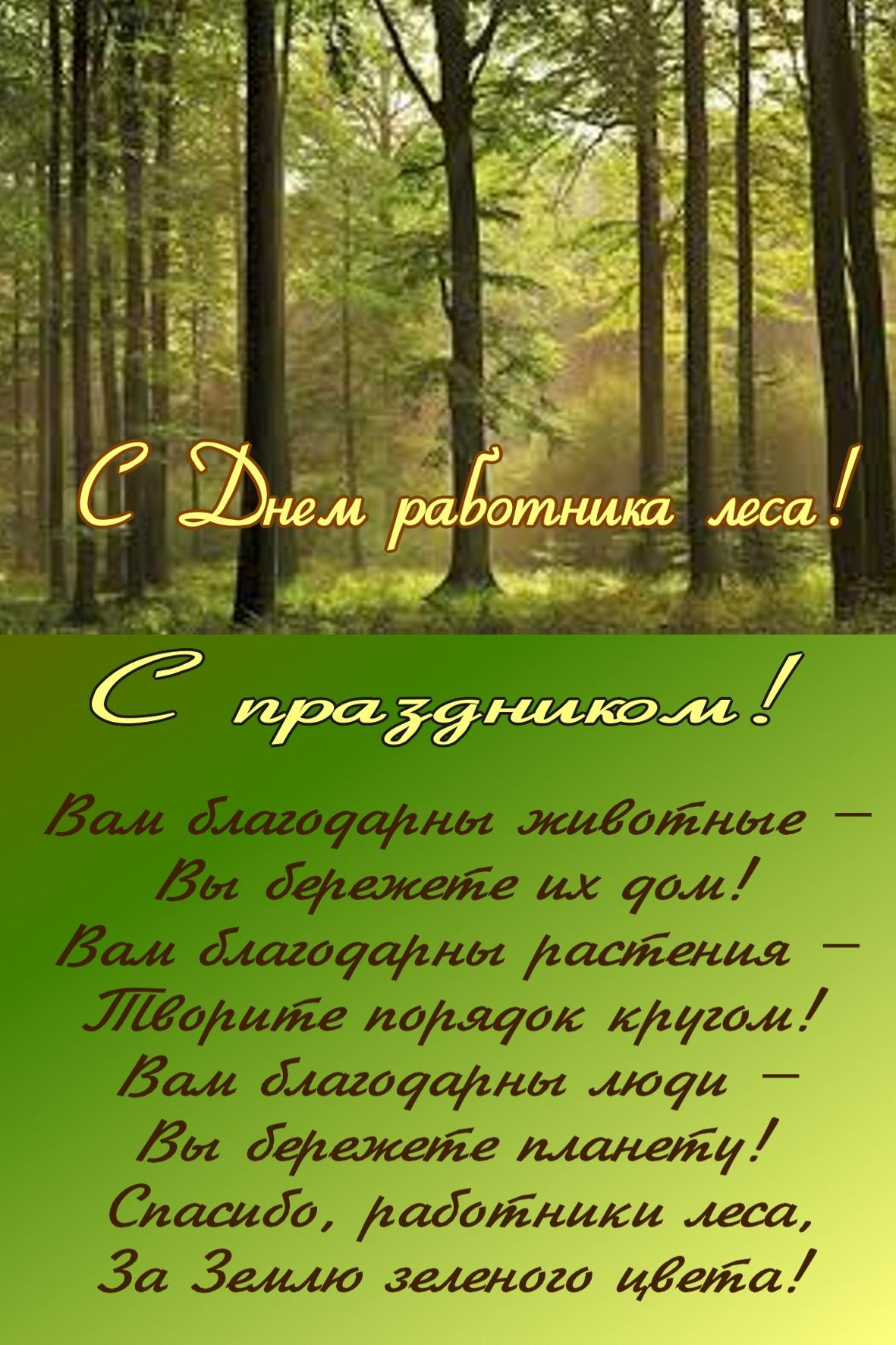 Поздравлением, открытка ко дню работника леса