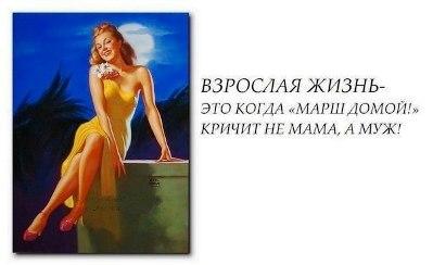 Взрослая жизнь-это когда «Марш домой! кричит не мама, а муж!